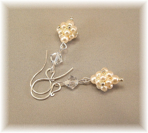 Regal Elegance Woven Drop Earrings  Ivory Pearls and by Handwired