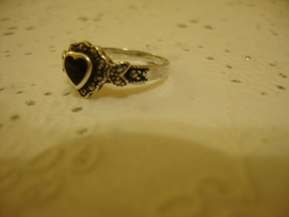 Vintage Marcasite Ring Silver Sterling