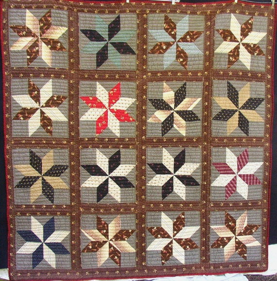 1890 s VINTAGE STAR QUILT, Graphic, Gorgeous,  Brown, Red, Black, hand sewn, homespun back, fab fabrics