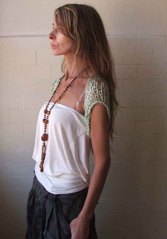 Jade green short sleeved bamboo shrug