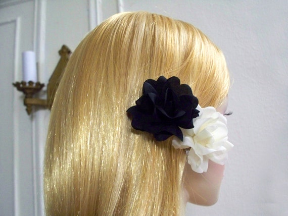 Ivory Black Small Polianta Rose Duo Hair Clip Wedding Accessory from etsy.com