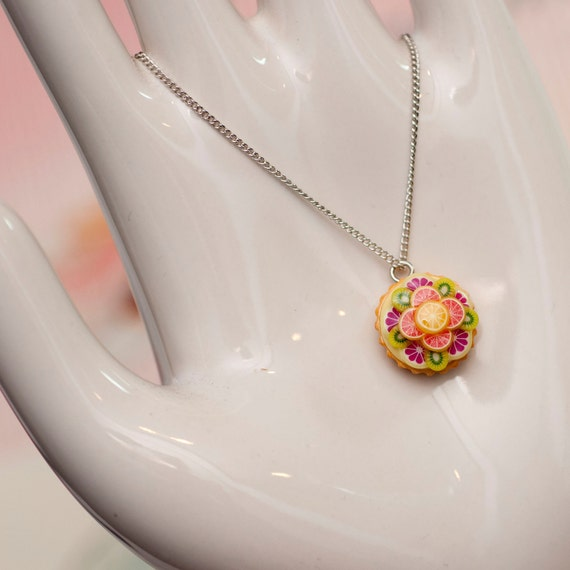 Roscata Citrus Kiwi Custard Tart Necklace - Handmade Polymer Clay Food Miniature Art Jewelry