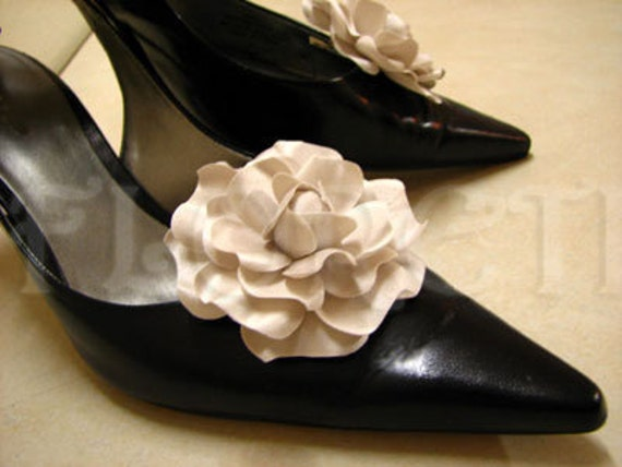 Couture Seashell Audrey Gardenia Bridal Shoe Accessories by Floreti on Etsy