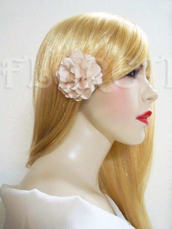 Small Gardenia Satin Champagne Bridal Hair Flower Clip by Floreti from etsy.com