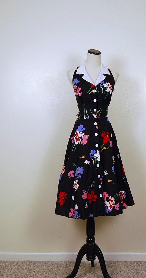 Vintage Bombshell Halter Black Floral Dress