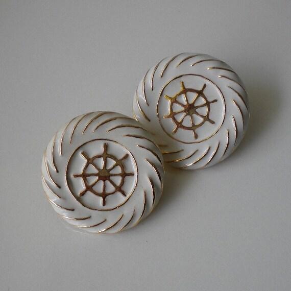 Nautical White Enamel Clip Earrings