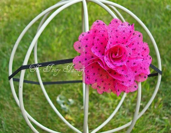 Изысканные ярко-розовый и черный шифон Полька Цветочный Dot Puff Тощий или мерцающие Широкий Stretchy головная повязка или зажим для волос - Бесплатный судна Промо
