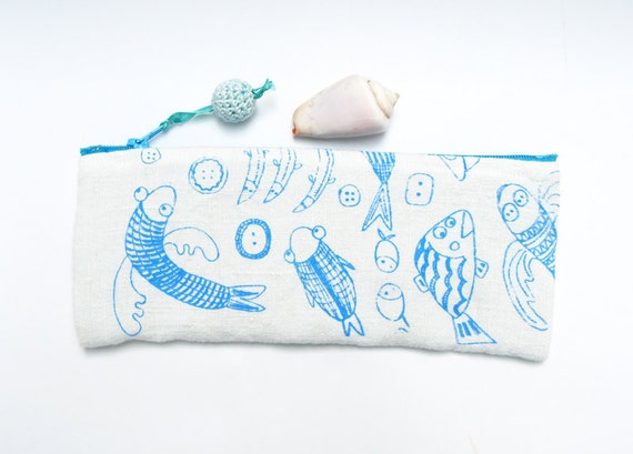 Happy Fish Pencil Case Zipper Purse on Etsy
