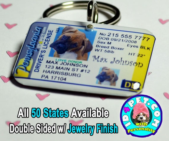 Pennsylvania driver license pet id tag by id4pet com stylehive