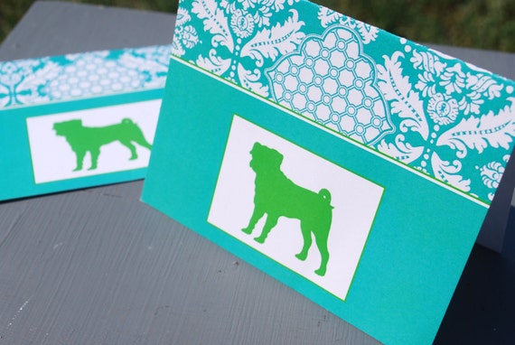 Teal & Green Pug Set of 8 Blank Note Cards