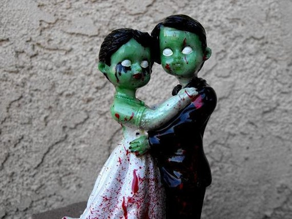 Zombie Style Day of the Dead Wedding Cake Topper - Free Shipping
