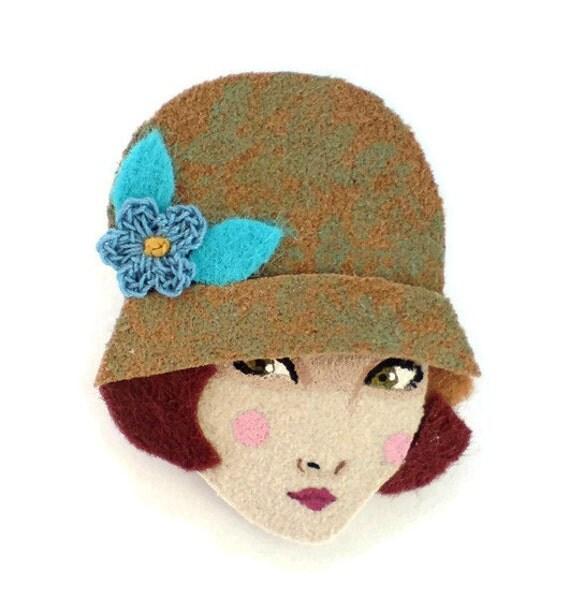 Fabric brooch - Emma, Twenties flapper girl, retro wearable art, Autumn, golden brown, copper