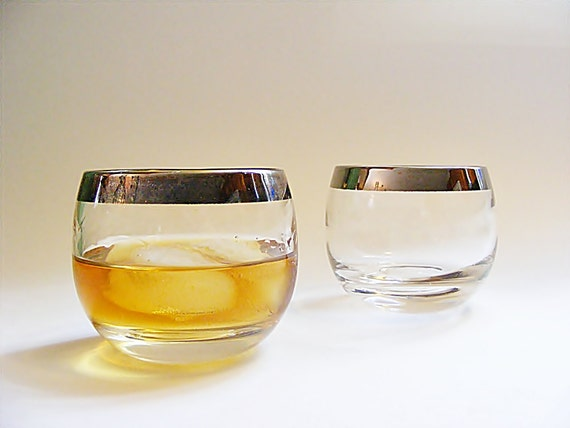 2 Vintage Roly Poly Cocktail Glasses, Silver Rim Old Fashioneds