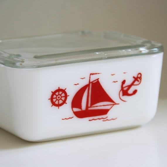 Vintage McKee Sailboats 4 x 5 Refrigerator Dish