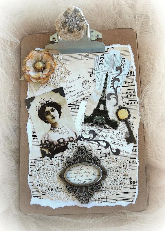 Потертый Chic Декор, Париж буфер обмена, Смешанная Арт Медиа, Дом-Декор, Clip совета, ручная работа, единственный в своем роде