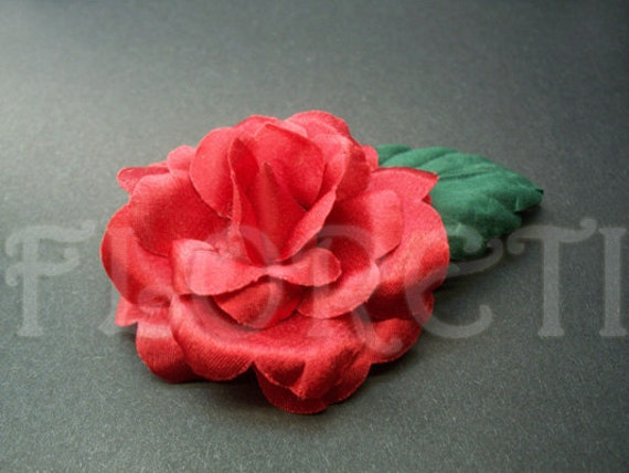 Red Indica Rose Hair Clip Handmade Silk Flower Hair Accessory by Floreti from etsy.com