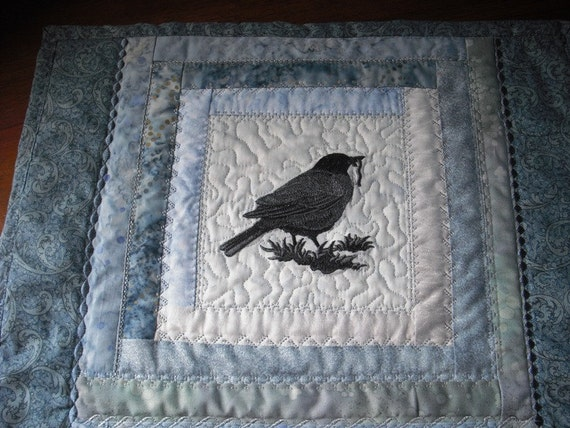 Quilted Table Runner Silhouette Birds Shades of Blue