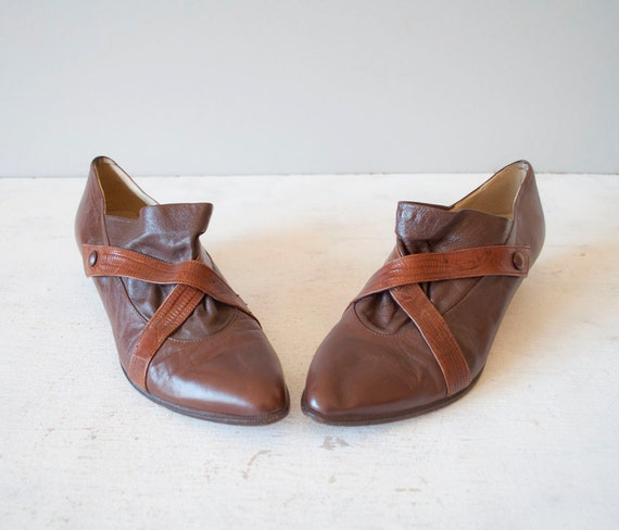 Vintage CROSS STRAP Leather Booties by MariesVintage on Etsy from etsy.com