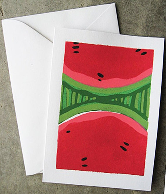 Watermelon Greeting Card, Blank Inside, Fruit, Split Watermelon