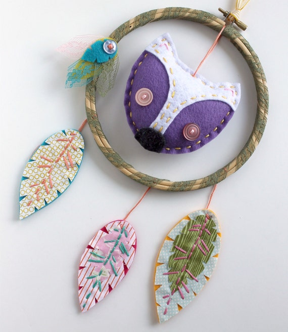 Fox Dreamcatcher Wall Hanging Plush Eco Felt Feathers Hand Embroidery
