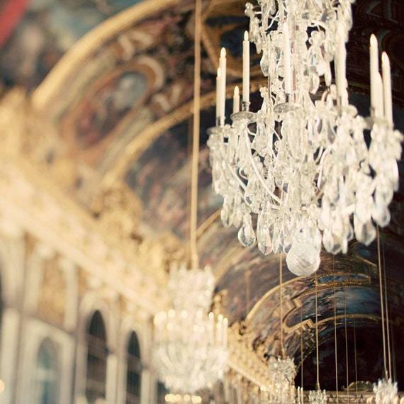 Chandelier photograph, Paris - The Secret History -  Versailles, Hall of Mirrors, France, French Style, Glamour