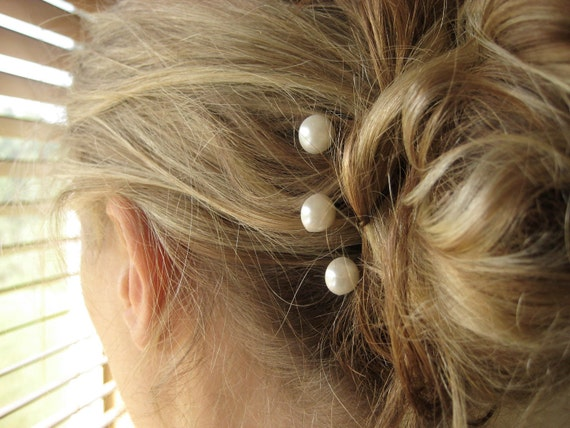 Pearl Bridal Hairpins - trio, antique brass, silver, ivory, simple