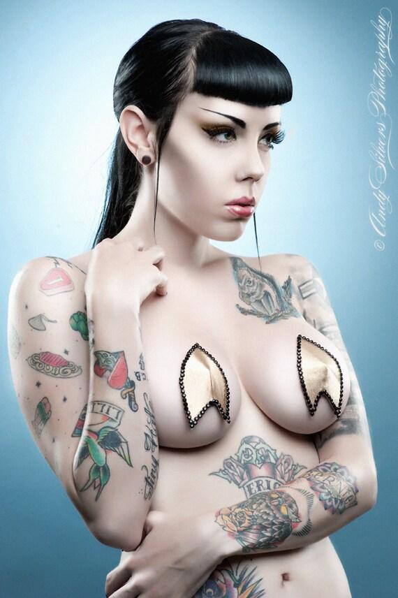 Geek Trek Gold Satin Bruelesque Pasties by gothfoxdesigns