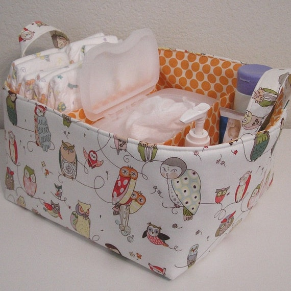 Ready To Ship ... Spotted Owl Natural Orange Full Moon Dot Fabric Organizer Bin Basket Diaper Caddy ..... with Dividers