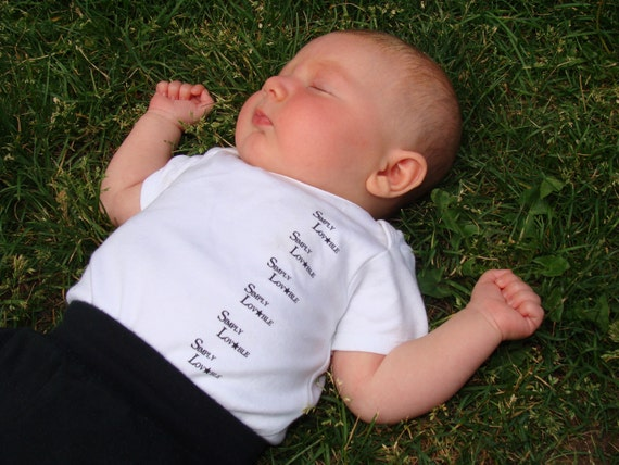 organic onesie, Simply Lovable, handprinted