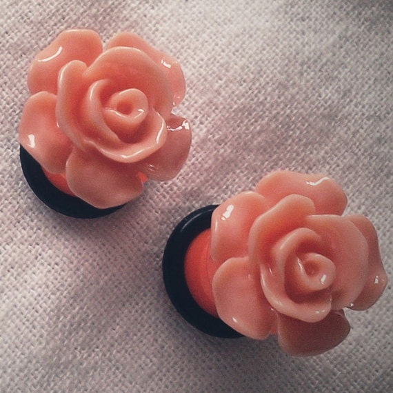 2g 6mm Plugs Orange Flower Acrylic gauge piercing by Glamsquared from etsy.com