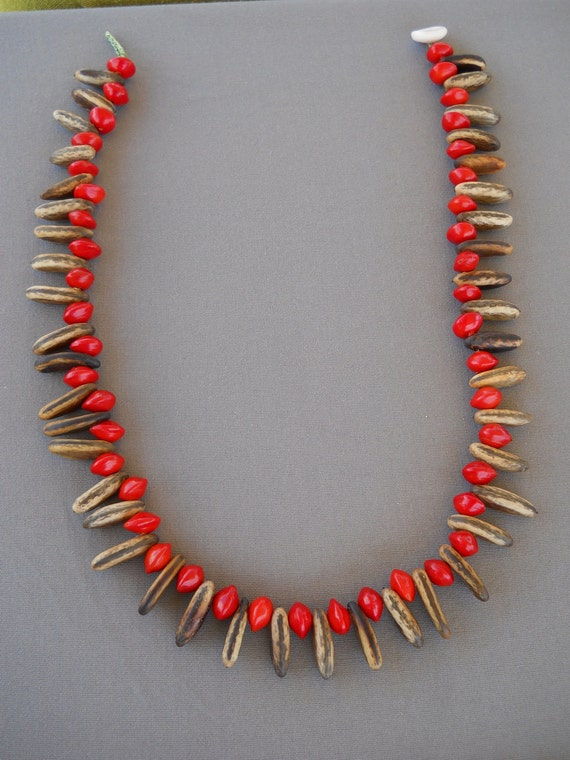 Sandalwood and Royal Poinciana Seed Necklace