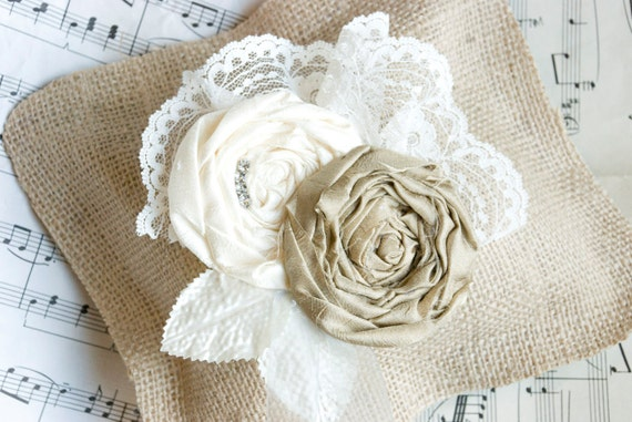Vintage Inspired Oatmeal and Ivory Rosette Flower Applique and Ring Bearer Pillow...choose your accent color