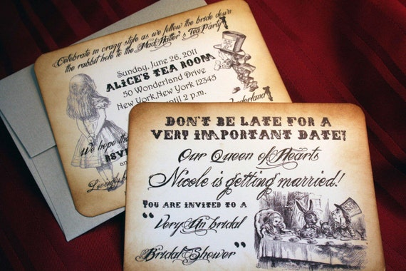 Alice in Wonderland Shower/Birthday Invitations - Flat cards - Vintage Appearance -  Set of 10