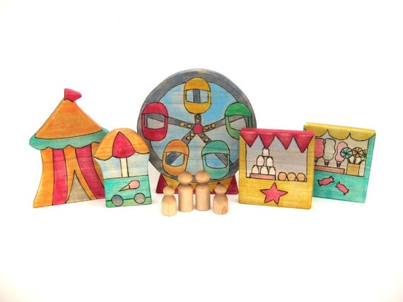 Carnival Play Set - Painted Handmade Wooden Toy - Ready to Ship