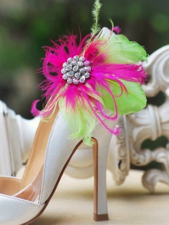 Statement Shoe Clips Pens Bride Couture Bridal Bridesmaid Bachelorette Summer Sophisticated Rhinestone Coque Ostrich Goose Apple, Green