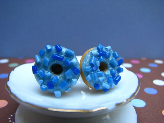 Yummy Donuts with Blueberry Frosting and Sprinkles Polymer Clay Earring Studs