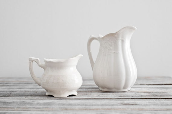 Vintage Pair of Ironstone Pitchers