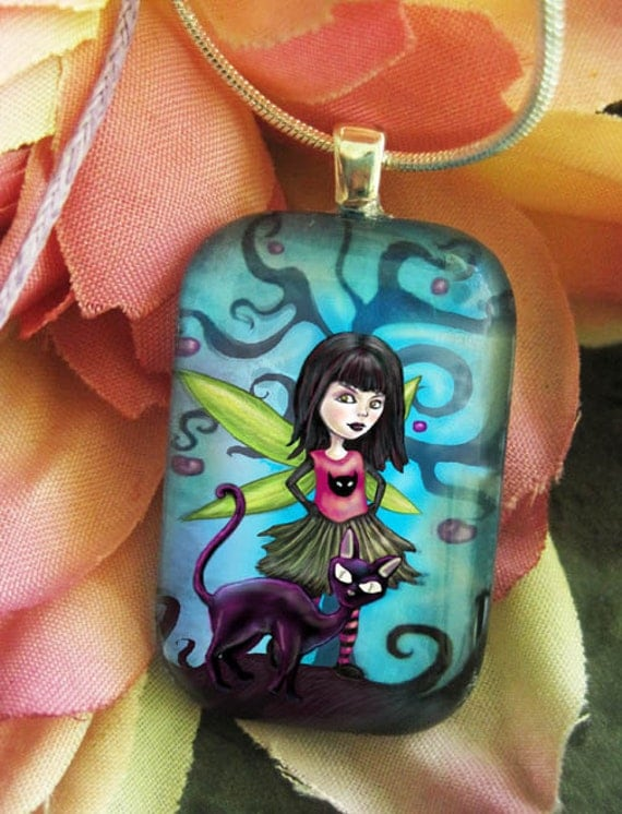 Gothic Fairy Jewelry Girl black Cat Lovers Fantasy Pendant necklace Medium
