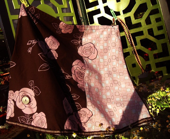 Coming Up Roses OOAK Atomic Retro Mod Brown Aline Applique Skirt M, L Mommy & Me