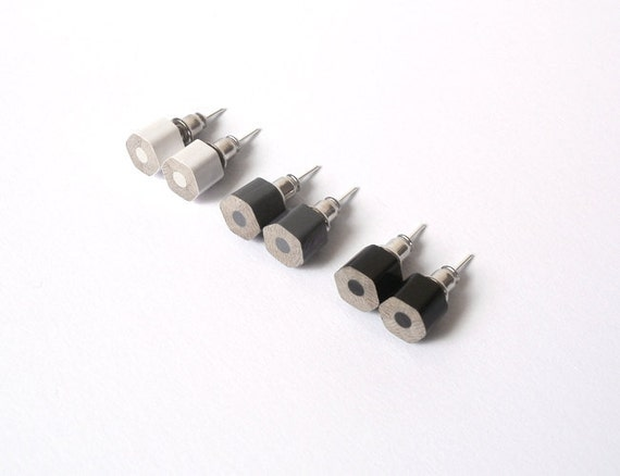 color pencil earring studs, the hexagon version in black and white