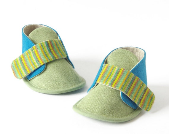 Eco baby booties - Lodlo newborn baby shoes, green, azure & stripes, baby slippers