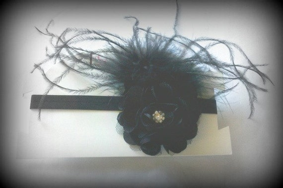 Black Satin Organza Swarovski Crystal Bling Hair Clip Elastic Headband Feathers Glam Diva Fits Ages Newborn through Adults