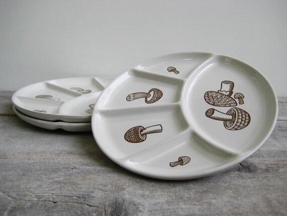 Vintage Divided Mushroom Plates