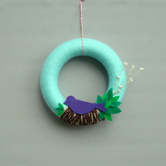 "Yarns for Summer Wreath - The bird a nest, the leaves, mint, brown, purple and green - ""Singing Spring"""