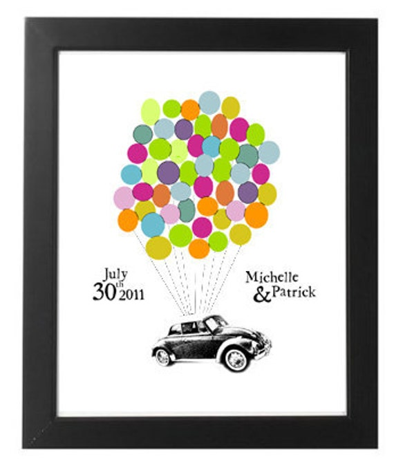 SPRING SALE 10 off Personalized 50 Signature Wedding Guestbook VW Bug