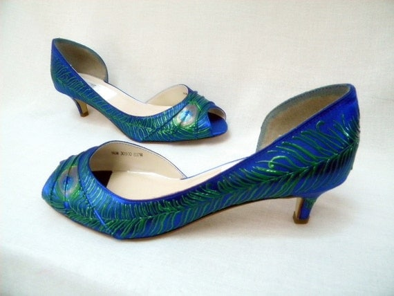 Wedding Shoes peacock feather painted low heel  peep toes Sapphire as seen on Etsy Finds