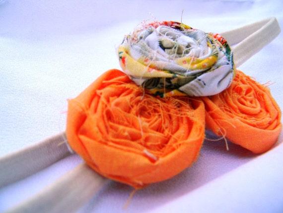 Orange Sherbet Fabric Rosette Headband