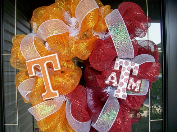Orange and Burgundy House Divided Texas & Texas A M Wreath