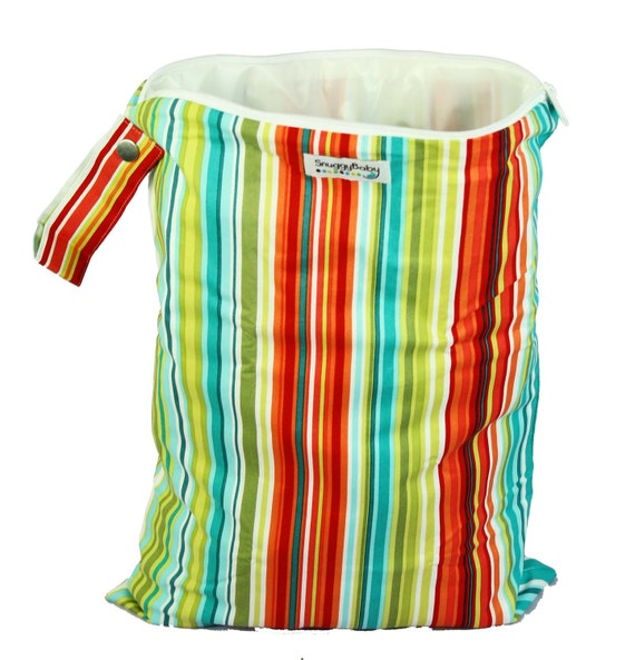 LARGE Wet Bag with Zipper and Waterproof Lining - Caribbean Stripe - FAST SHIPPING