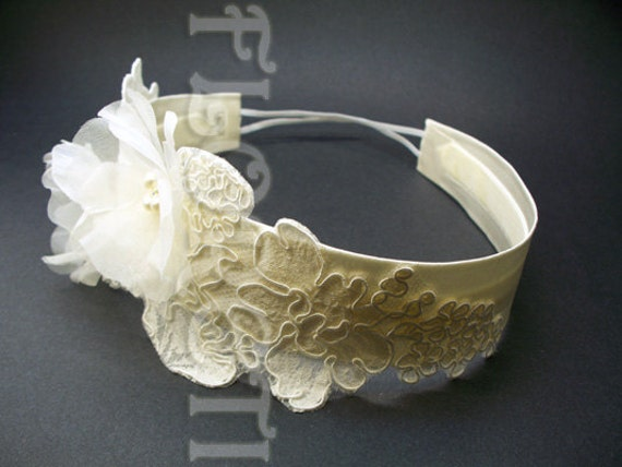 Ivory Silk Prairie Rose Bridal Headband Couture Wedding Headwear w Pearls Crystals by Floreti from etsy.com